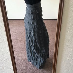 Tiered gray maxi skirt